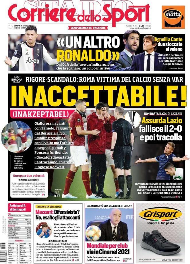 Corriere dello sport, prima pagina:
