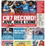 """Prima Pagina Tuttosport: """"CR7 Record! Juve ora il Lione"""""""